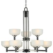 "Aurora® 32"" x 32"" 60 W 9 Light Chandelier W/Satin White Glass Shade, Black/Brushed Nickel"