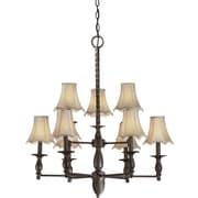 "Aurora® 33"" x 30"" 60 W 9 Light Chandelier W/Fabric Shade, Antique Bronze"