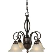 "Aurora® 23"" x 23"" 100 W 4 Light Chandelier W/Umber Linen Glass Shade, Antique Bronze"