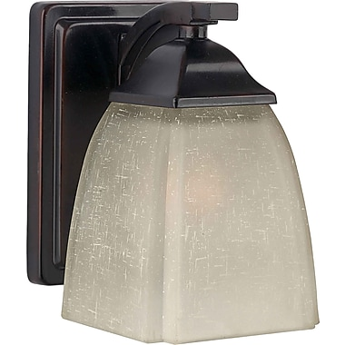 Aurora® 1 Light Wall Sconce With Umber Linen Glass Shade, Antique Bronze