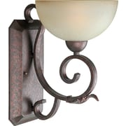 "Aurora® 14"" x 9"" 100 W 1 Light Wall Sconce With Umber Mist Glass Shade, Black Cherry"
