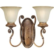 "Aurora® 13 1/4"" x 17"" 100 W 2 Light Wall Sconce With Shaded Umber Glass Shade, Rustic Sienna"