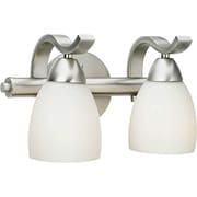"Aurora® 7"" x 12"" 100 W 2 Light Bath Vanity With Satin Opal Glass Shade, Brushed Nickel"