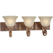 "Aurora® 9 3/4"" x 26"" 100 W 3 Light Bath Vanity With Patterned Umber Mist Glass Shade, Rustic Sienna"