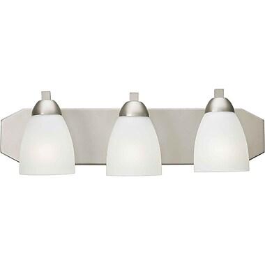 Aurora® 3 Light Bath Vanity With Satin White Glass Shade, Brushed Nickel
