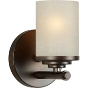 "Aurora® 7"" x 4 3/4"" 100 W 1 Light Bath Vanity With Umber Linen Glass Shade, Antique Bronze"