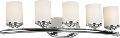 "Aurora® 7"" x 29"" 100 W 5 Light Bath Vanity With Satin Opal Glass Shade, Chrome"