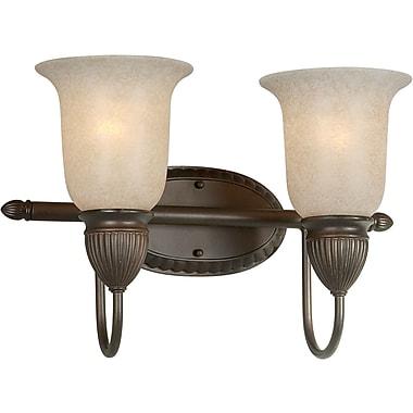 Aurora® 2 Light Bath Vanity With Mica Flake Glass Shade, Antique Bronze