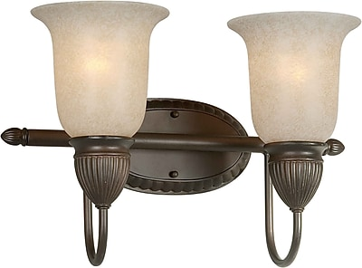 Aurora® 2 Light Bath Vanity With Mica Flake Glass Shade, Antique Bronze