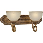 Aurora® 2 Light Bath Vanity With Patterned Umber Glass Shade, Rustic Sienna