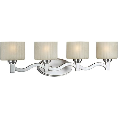 Aurora® 4 Light Bath Vanity With Umber Linen Glass Shade, Brushed Nickel