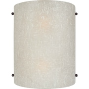 "Aurora® 9 1/2"" x 7 3/4"" 60 W 2 Light Wall Sconce With Umber Linen Glass Shade, Antique Bronze"