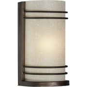 "Aurora® 8"" x 4 1/2"" 60 W 1 Light Wall Sconce With Umber Linen Glass Shade, Antique Bronze"
