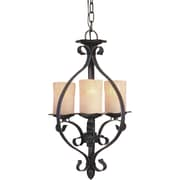 "Aurora® 21 1/2"" x 11 1/2"" 100 W 3 Light Bowl Pendant W/Rustic Umber Glass Shade, Natural Iron"