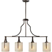 "Aurora® 32""-62"" x 36"" 100 W 4 Light Island Pendant W/Umber Linen Glass Shade, Antique Bronze"