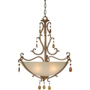 "Aurora® 26"" x 21.75"" 100 W 4 Light Bowl Pendant W/Umber Glass Shade, Rustic Sienna"