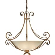 "Aurora® 43"" x 43"" 100 W 4 Light Bowl Pendant W/Umber Glass Shade, Rustic Sienna"