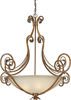 Aurora® 6 Light Bowl Pendant W/Umber Glass Shade, Rustic Sienna