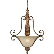 "Aurora® 28"" x 20"" 100 W 3 Light Bowl Pendant W/Patterned Umber Glass, Rustic Sienna"