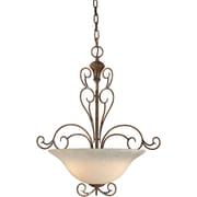 "Aurora® 24 1/2"" x 19"" 100 W 3 Light Bowl Pendant W/Tapioca Glass Shade, Rustic Sienna"