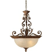 "Aurora® 26"" x 19 1/2"" 100 W 3 Light Bowl Pendant W/Mica Flake Glass Shade, Rustic Sienna"