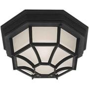 "Aurora® 5"" x 11 1/2"" 100 W 1 Light Flush Mount W/Satin White Glass Shade, Black"