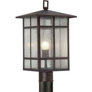 "Aurora® 18"" x 10"" 100 W 1 Light Outdoor Post W/Clear Seeded Glass Shade, Antique Bronze"