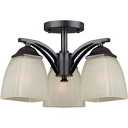 "Aurora® 9 1/2"" x 14 3/4"" 100 W 3 Light Semi-Flush Mount W/Umber Linen Glass Shade, Antique Bronze"