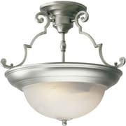 "Aurora® 14"" x 15"" 100 W 2 Light Semi-Flush Mount W/Marble Glass Shade, Brushed Nickel"