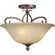 "Aurora® 13"" x 16"" 100 W 3 Light Semi-Flush Mount W/Umber Sand Glass Shade, Rustic Spice"