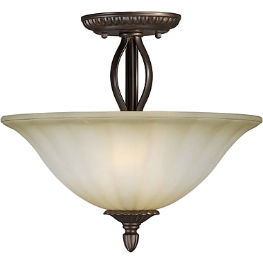 Aurora® 2 Light Semi-Flush Mount W/Umber Mist Glass Shade, Antique Bronze