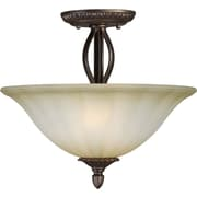 Aurora® 2 Light Semi-Flush Mount W/Umber Mist Glass Shade, Antique Bronze