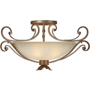 "Aurora® 15"" x 24"" 100 W 4 Light Semi-Flush Mount W/Umber Glass Shade, Rustic Sienna"