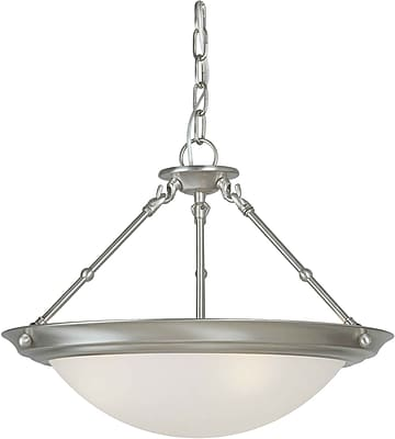 "Aurora® 13"" x 18"" 100 W 3 Light Semi-Flush Mount W/White Linen Glass Shade, Brushed Nickel"