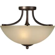 "Aurora® 12"" x 16 1/2"" 100 W 3 Light Semi-Flush Mount W/Umber Glass Shade, Antique Bronze"