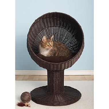 The Refined Feline Kitty Ball Hooded Cat Bed; Espresso