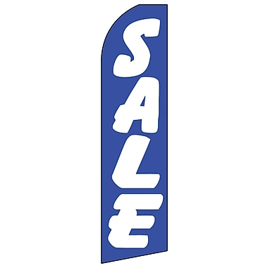 Trousse pour banderole à message avec perche et piquet, « Sale », bleu et blanc