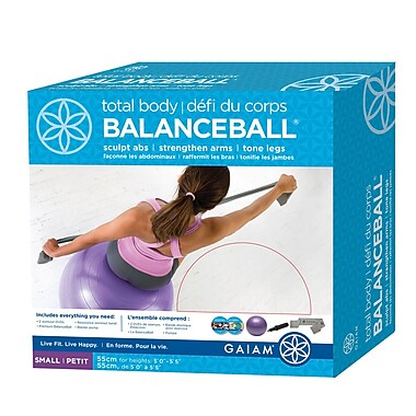 Gaiam® 55cm Small Total Body BalanceBall Kit with DVD, Purple