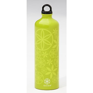 Gaiam® Aluminum Water Bottle with Cap Style 1, 750mL, Flower Power Key Lime