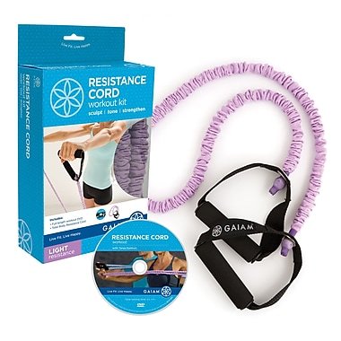 Gaiam® Covered Resistance Cord Kit with DVD, Light, Purple