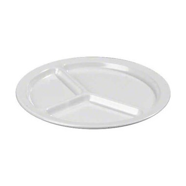 Carlisle 10'' Kingline™ Three-Compartment Plate, White