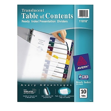 Avery® Ready Index® Translucent Table of Contents Dividers, 10-Tab Set