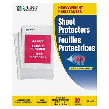 C-Line® Polypropylene A4-Size Sheet Protectors, Clear, 50/Box