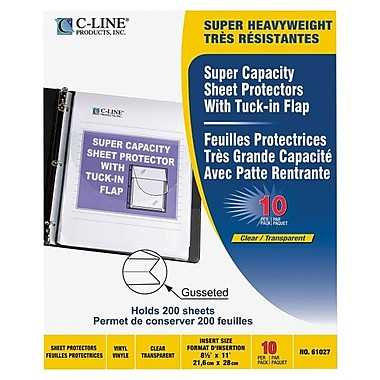 C-Line® Super Capacity Sheet Protectors With Tuck-In Flap, Clear, 10/Pack