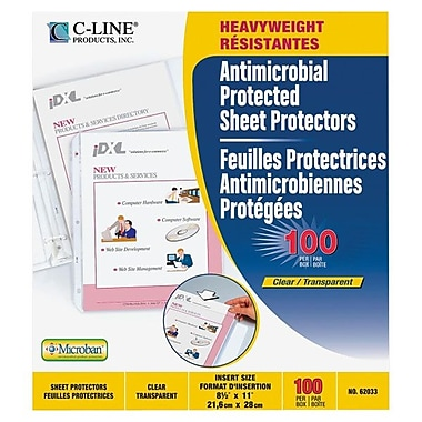 C-Line® Heavyweight Sheet Protectors With Antimicrobial Protection, Clear, 100/Box