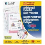 C-LineMD – Protège-feuilles épais avec protection antimicrobienne, transparents, 100 par boîte