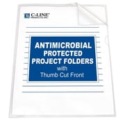 C-Line® Letter Project Folders With Antimicrobial Protection, Clear, 25/Box