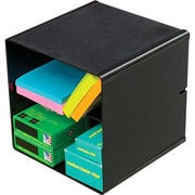 Deflecto® Divided Stackable Cube Organizer, Black