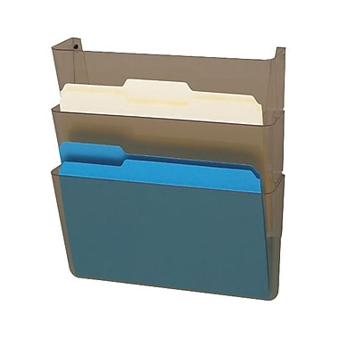 Deflecto® Docupocket® 3-Pocket Letter-Size Unbreakable Linking Wall Pocket, Smoke
