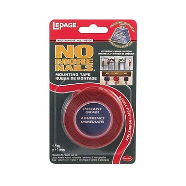 LePage® Permanent Mounting Tape, 19 mm x 1.5 m, Red